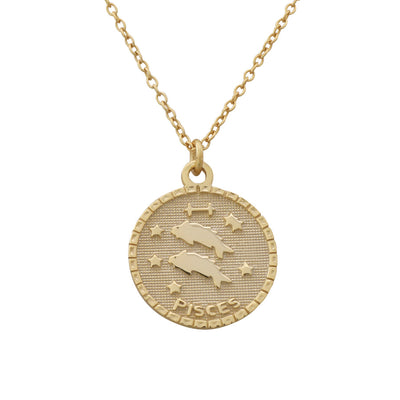 Pisces Zodiac Coin Necklace