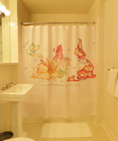 Aroopy's Upside Down Map Shower Curtain now available!!