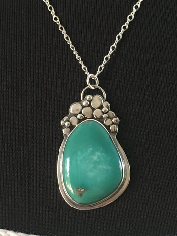 Silver Pebble Turquoise Necklace by Mothers On The Mountain Jewelry