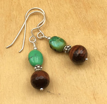 Load image into Gallery viewer, Anhui Green Turquoise and Red Tigers Eye Earrings on Silver wire