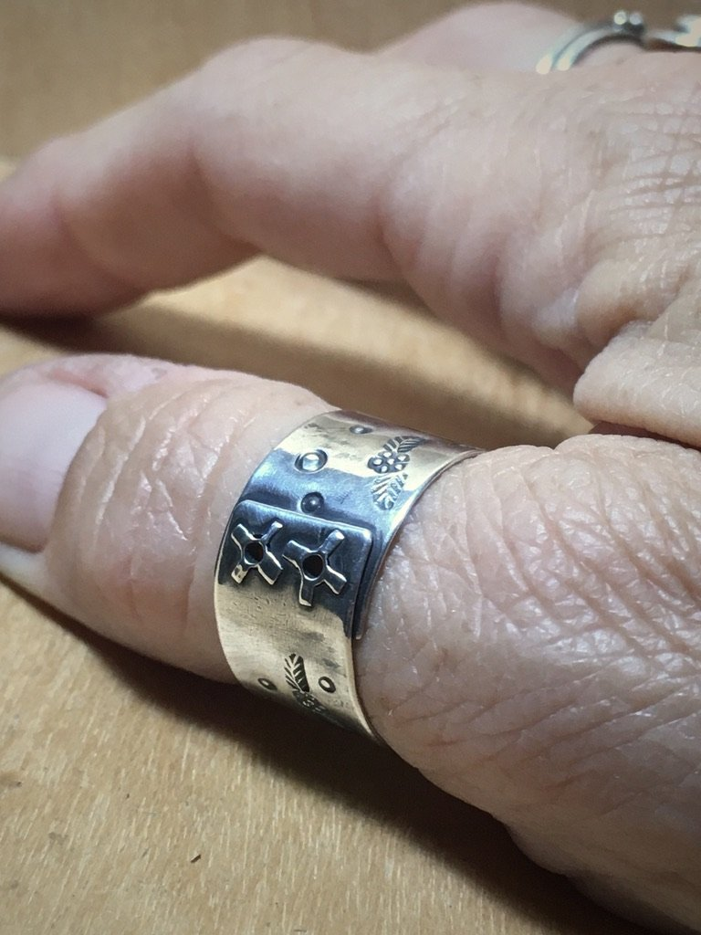 Floral Riveted Silver Wide Band Ring Stamped with Flowers All Handmade Mothers On The Mountain Jewelry