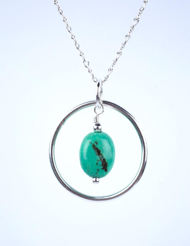Green Turquoise & Silver Hoop Necklace Mothers On The Mountain Jewelry