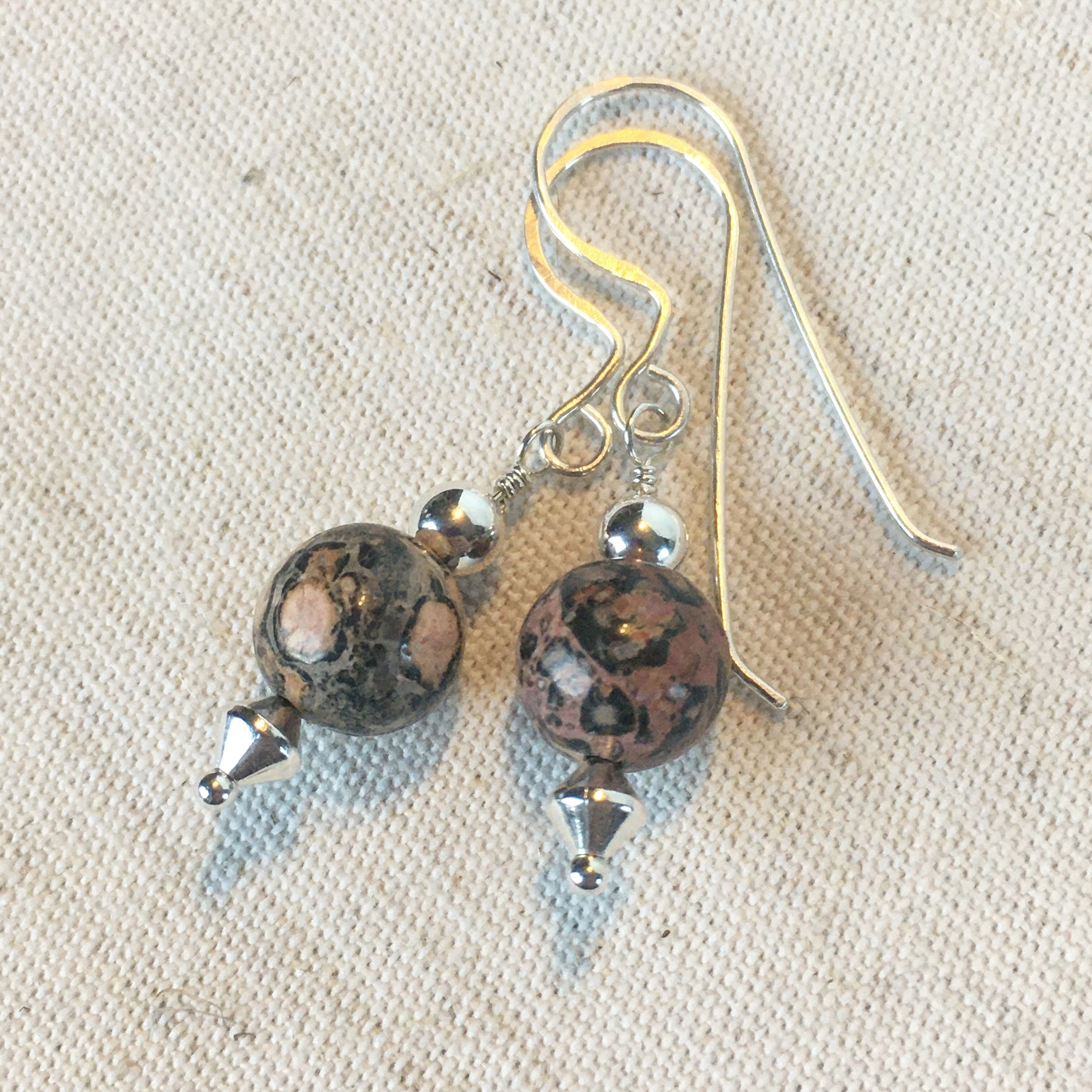 Jasper and Silver beaded Earrings Mothers On The Mountain Jewelry