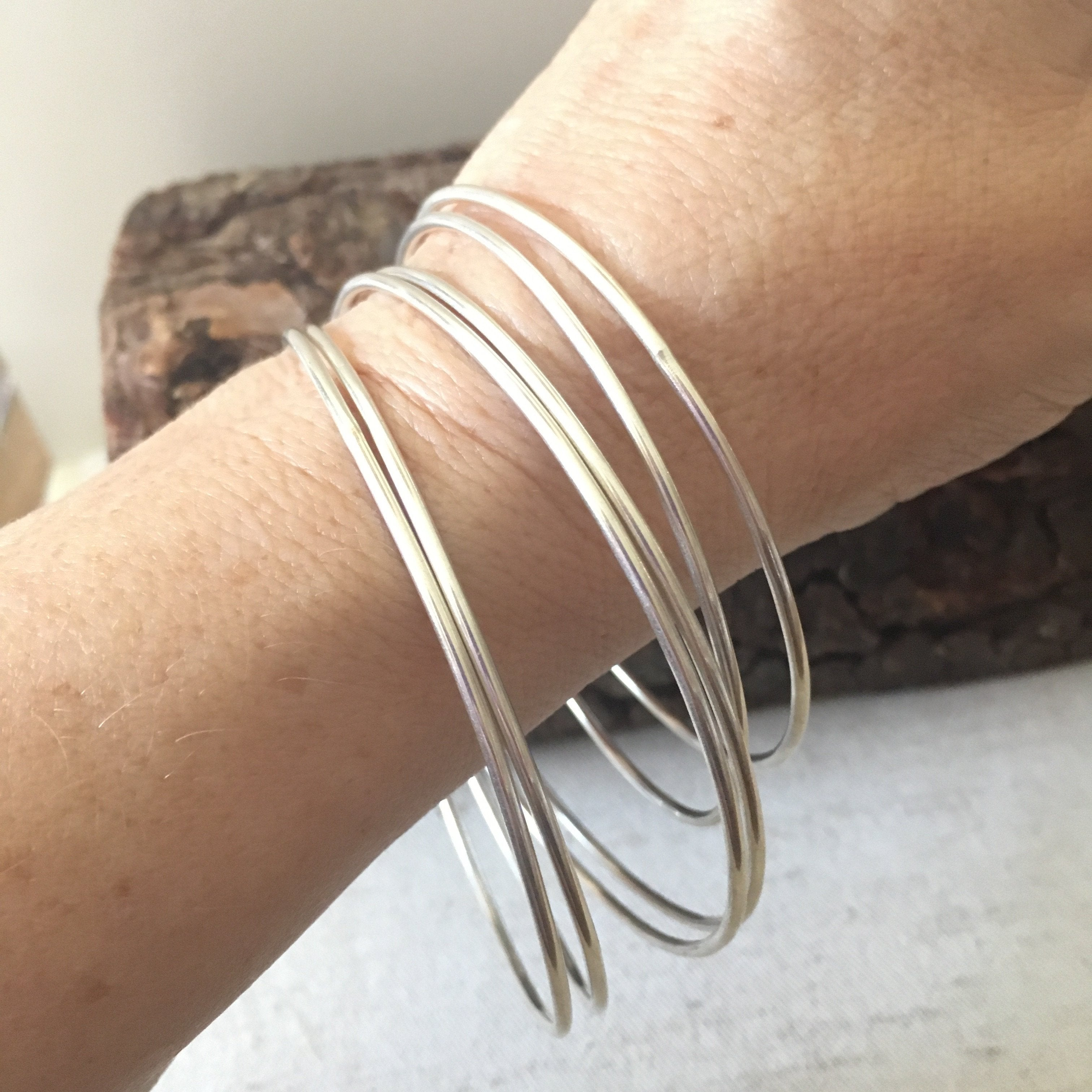 Skinny Sterling Silver Bangles 14 Gauge All Handmade Mothers On The Mountain Jewelry