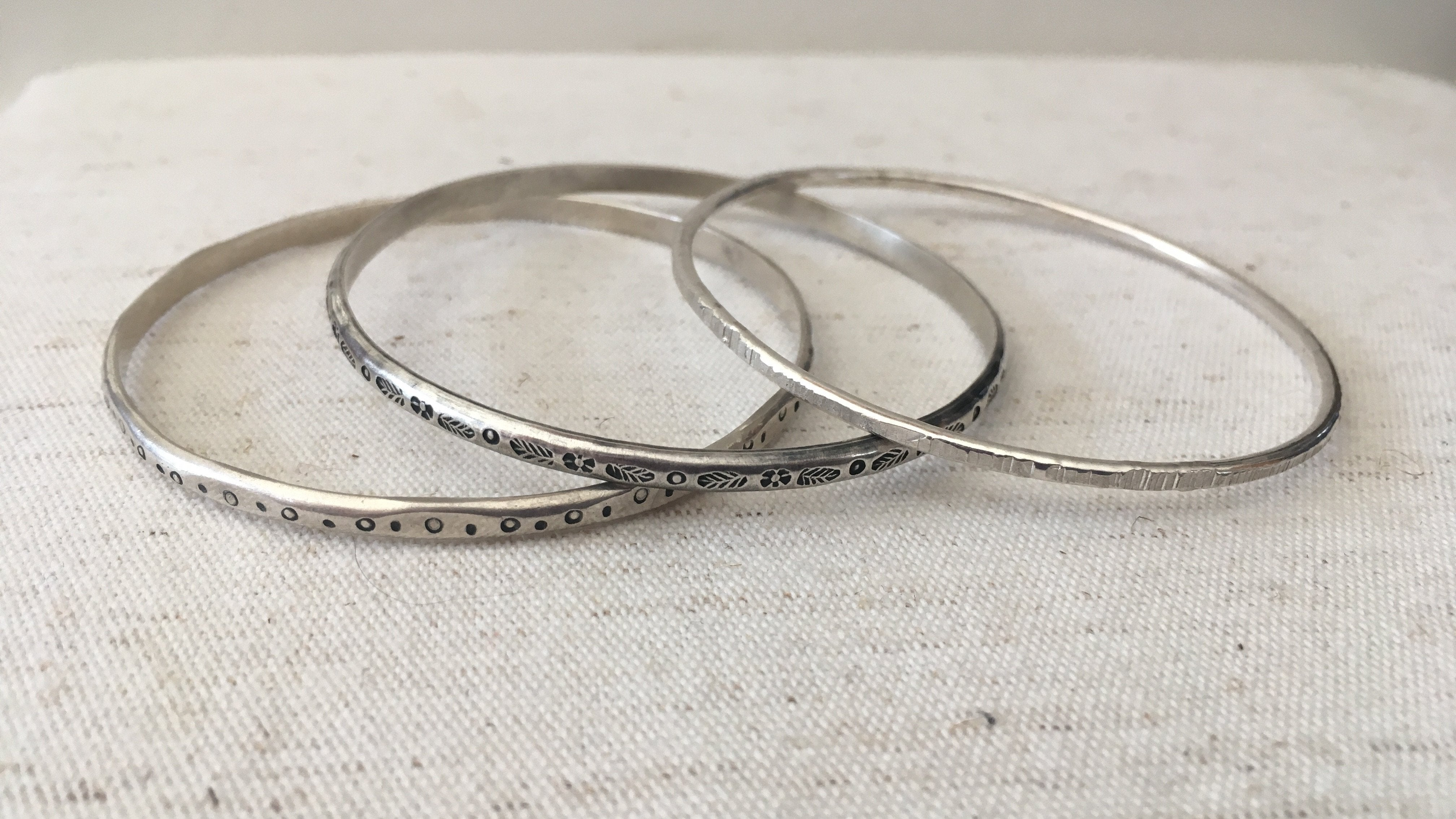Small Textured Silver Bangles Petite Size or Child Size Mothers On The Mountain Jewelry