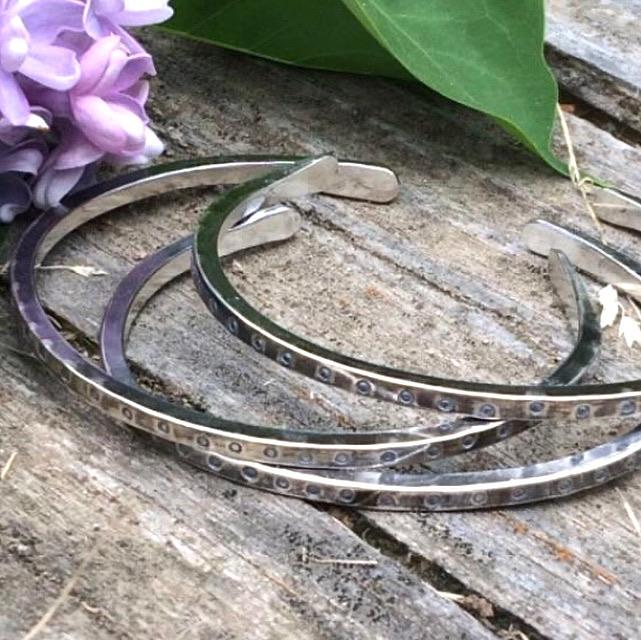 Stamped Silver Square Wire Cuffs All Handmade Mothers On The Mountain Jewelry