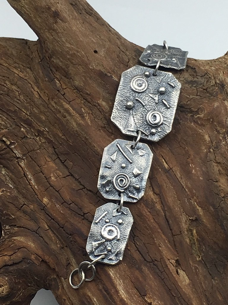 "Textured Silver Bracelet Adjustable All Handmade Reticulated Sterling Size 7"" Mothers On The Mountain Jewelry"