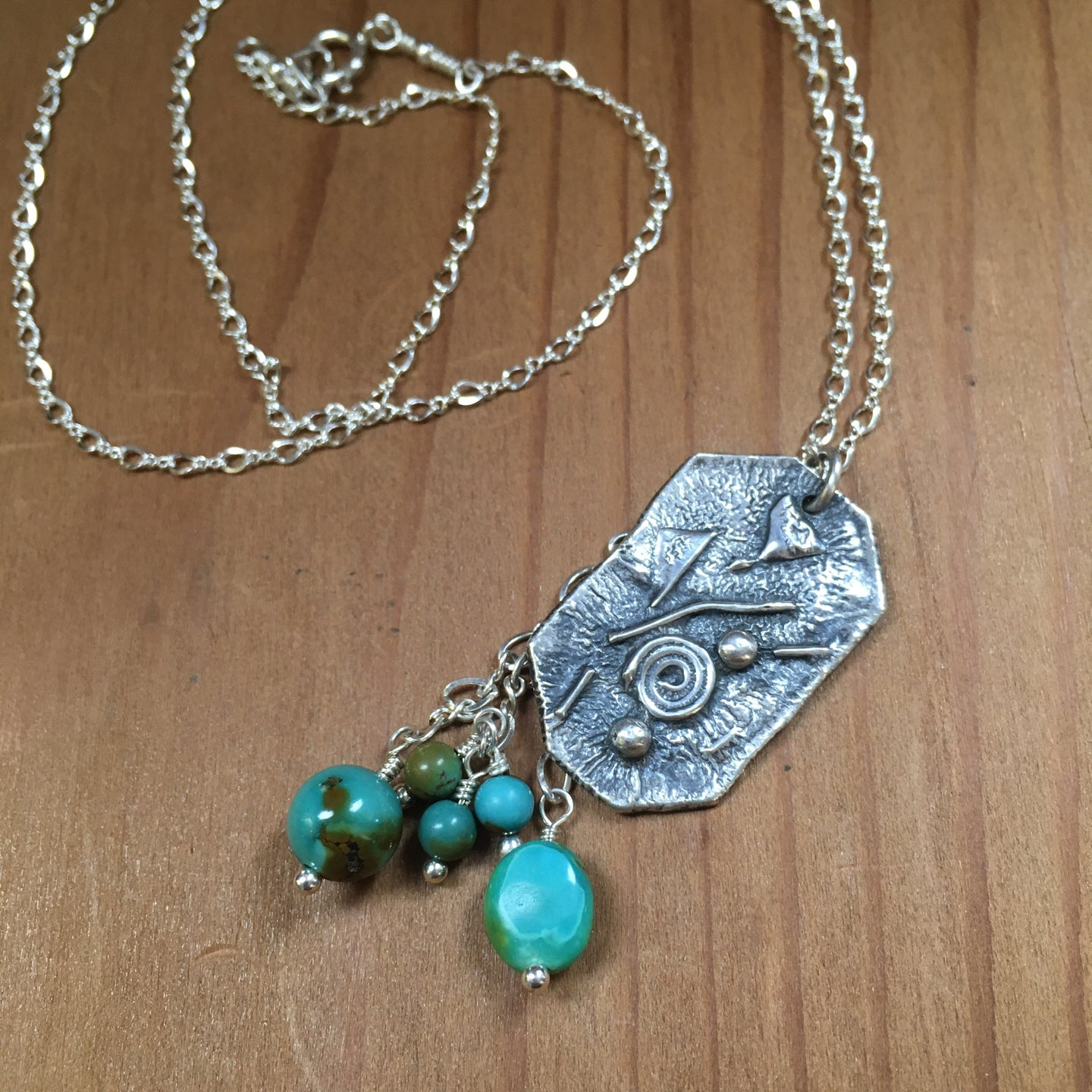 Silver Swirls and Bits Calming Necklace with Hubei Turquoise Beads & Textured Silver All Handmade Reticulated Sterling