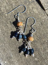 Load image into Gallery viewer, Sandy Agate Earrings with a Trio of Dumortierite Earrings All Handmade