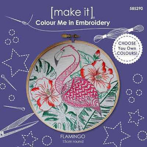 Colour Me In ~ Embroidery Kit ~ Flamingo
