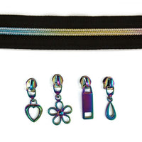 Iridescent Rainbow Zipper ~ 3m with 12 assorted pulls