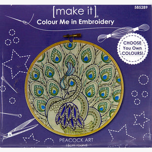 Colour Me In ~ Embroidery Kit ~ Peacock Art