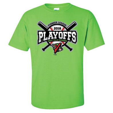Great Falls Voyagers Playoffs 2018 Lime Green T-Shirt