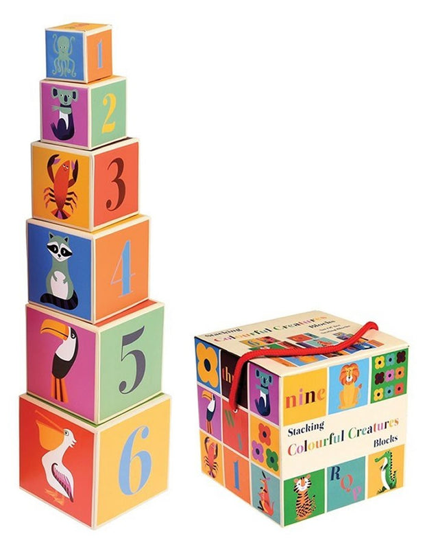 Stacking block, Set of 10 - Colourful Animals