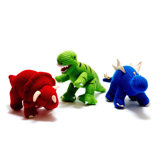 Knitted T-Rex Dinosaur Rattle Green