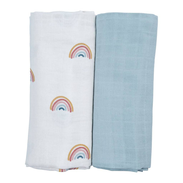 Organic Cotton Rainbow Baby Swaddle Two Pack