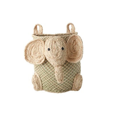 Wall Hung Sea Grass Raffia Elephant Toy Basket