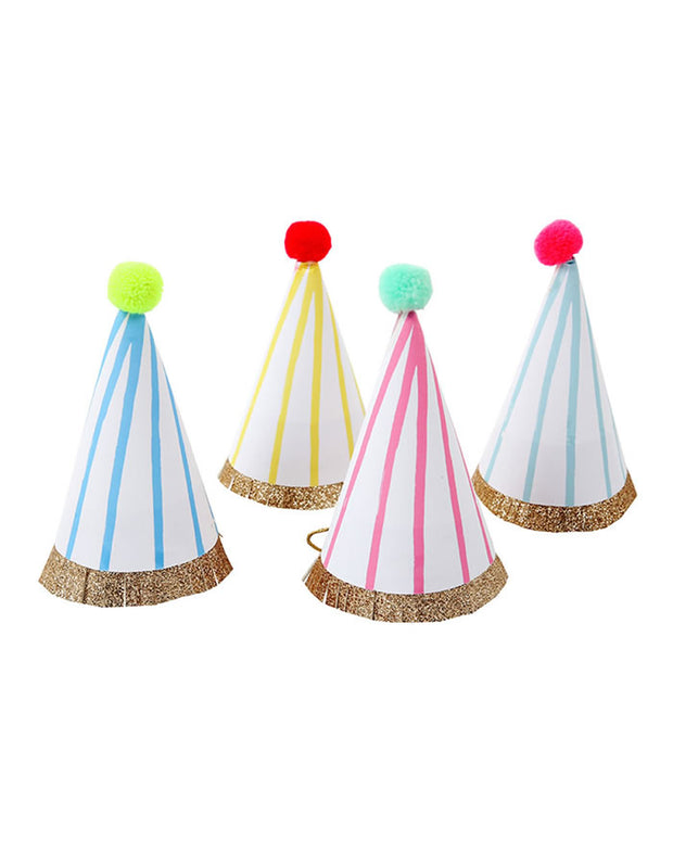 Colourful Mini Party Hat Set Of Eight