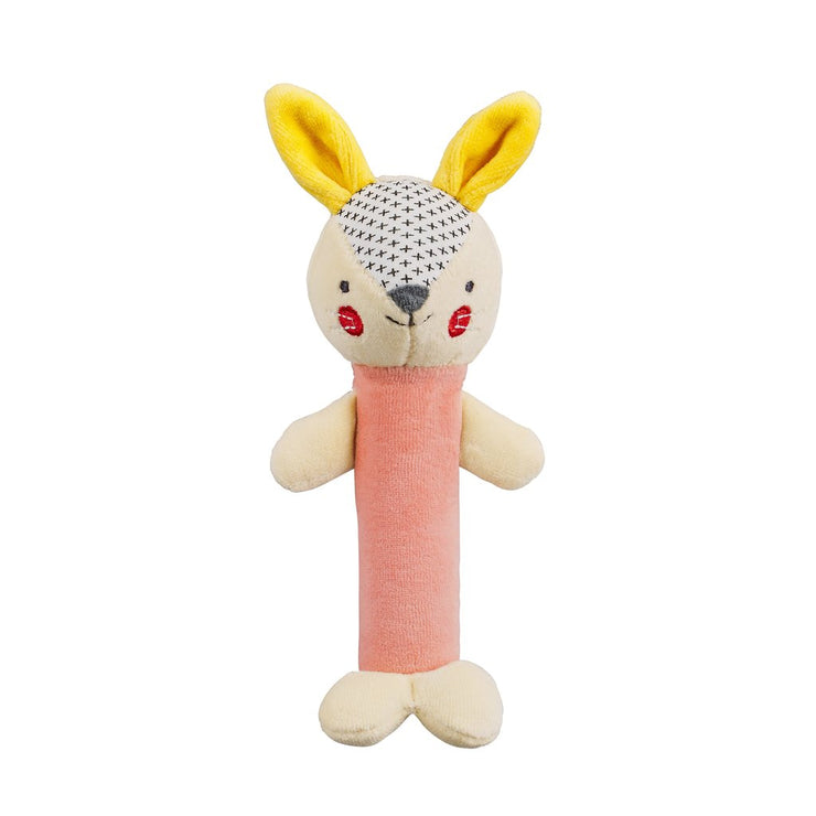 Organic Soft Squeaker Rattle - Pink Bunny