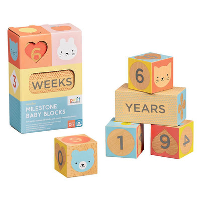 Petit Collage Wooden Milestone Baby Blocks