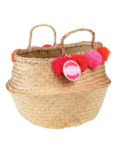 Pom Pom Storage Basket - Pink Red