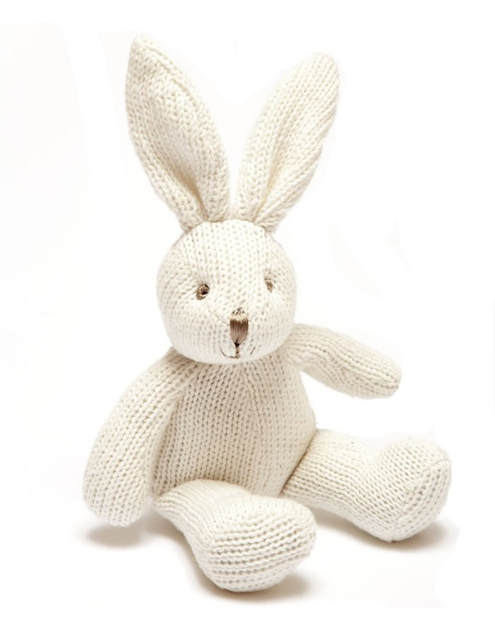 Knitted Bunny Rattle White