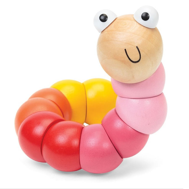 Wooden Bendy Worm - Pink