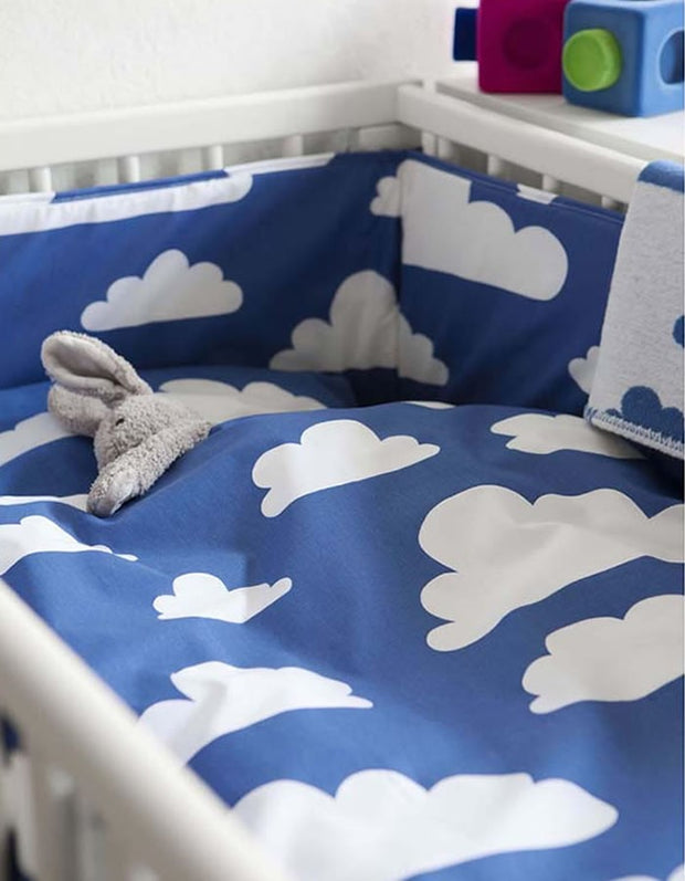 Clouds Bed Set - Blue Cot