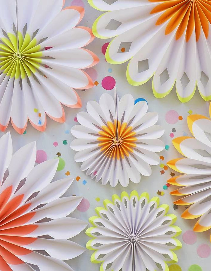 Neon Daisy Flower Pinwheel Decorations - Set of 6