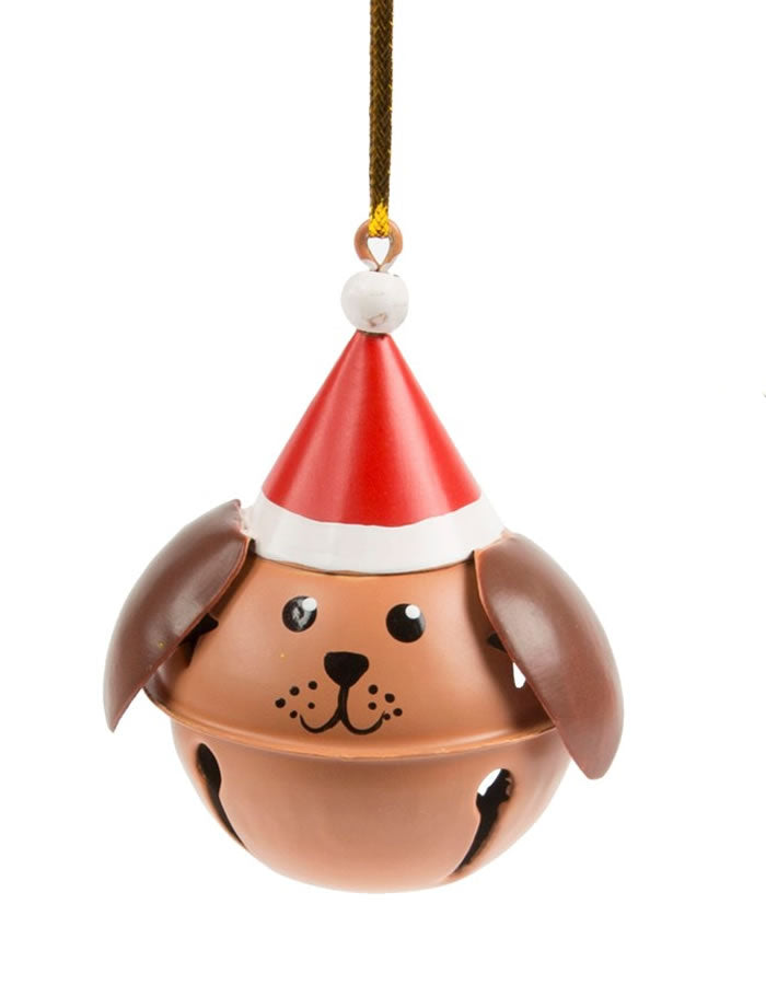 Festive Dog Bell Decoration - Brown