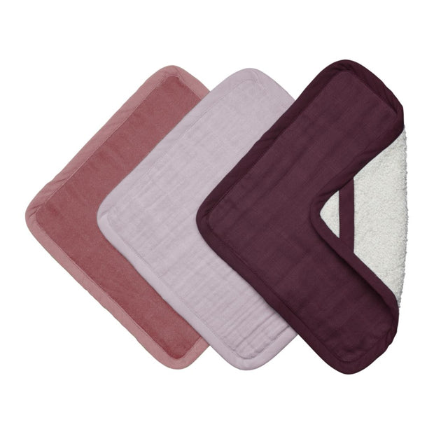 Fabelab Organic Cotton Washcloth Set of 3 - Berry