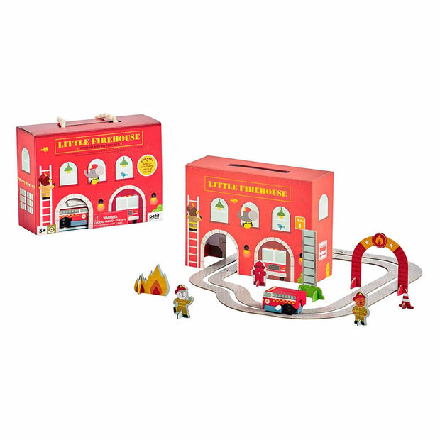 Petit Collage Wind Up And Go Playset Fire Station