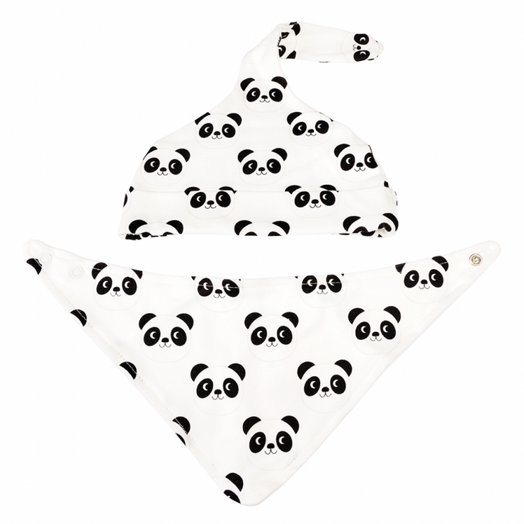 Organic Cotton Hat & Bib Gift Set - Panda