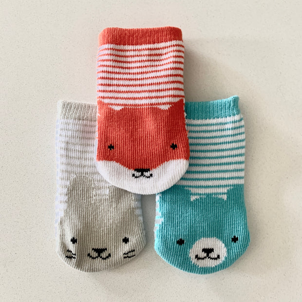 Petit Collage Set Of Three Organic Baby Socks