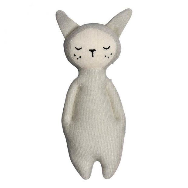 Fabelab Soft Toy Organic Cotton Rattle Grey Bunny