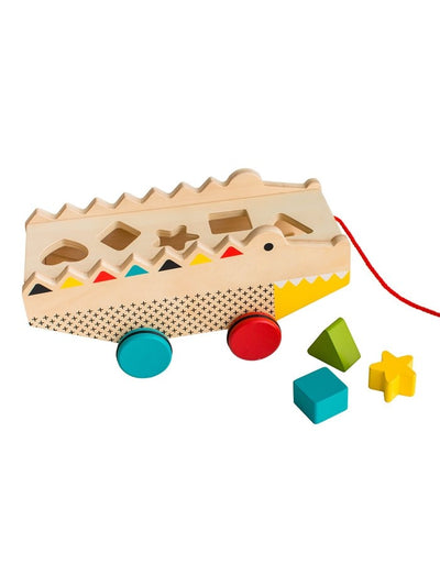 Alligator Wooden Shape Sorter And Pull Toy