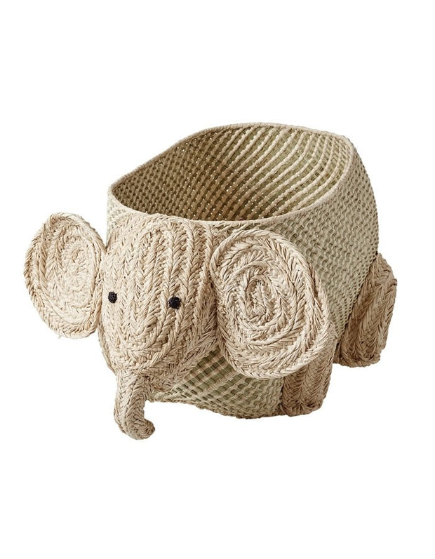Natural Raffia Storage Basket - Elephant