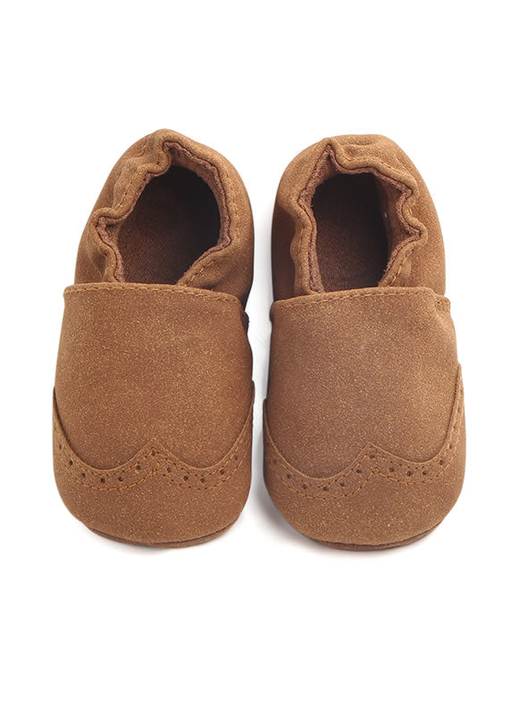 Suede Baby Booties Moccasins - Cinnamon