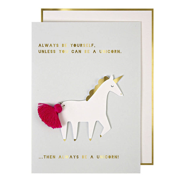 Unicorn With Fabric Tassel Card