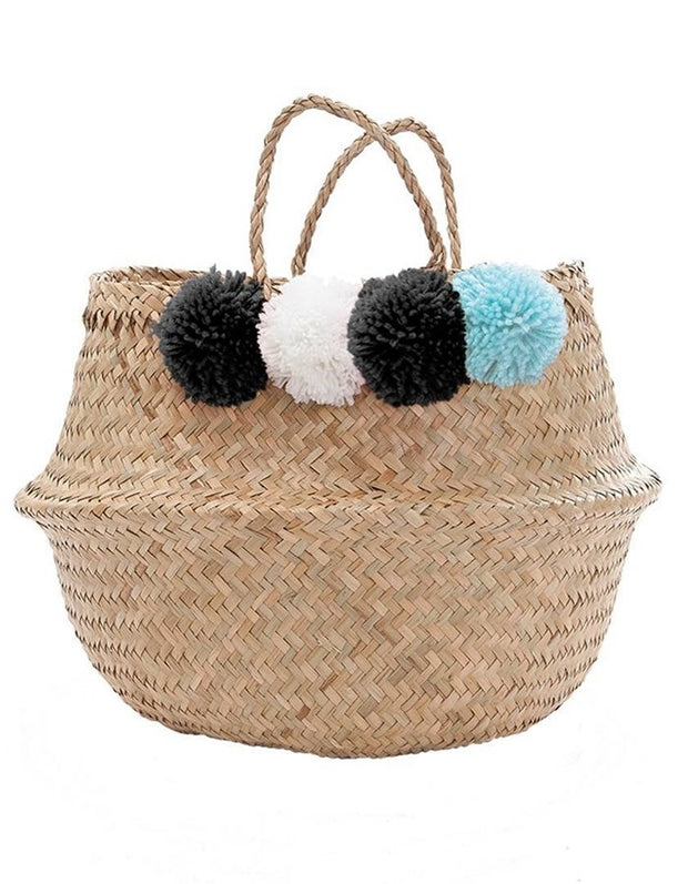 Pom Pom Storage Basket - Black/Blue/White