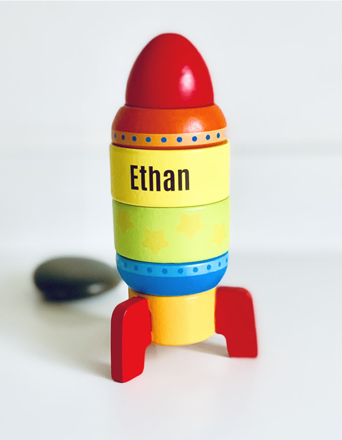 Personalised Wooden Stacking Rocket