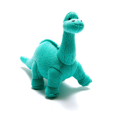 Knitted Diplodocus Dinosaur Rattle - Ice Blue