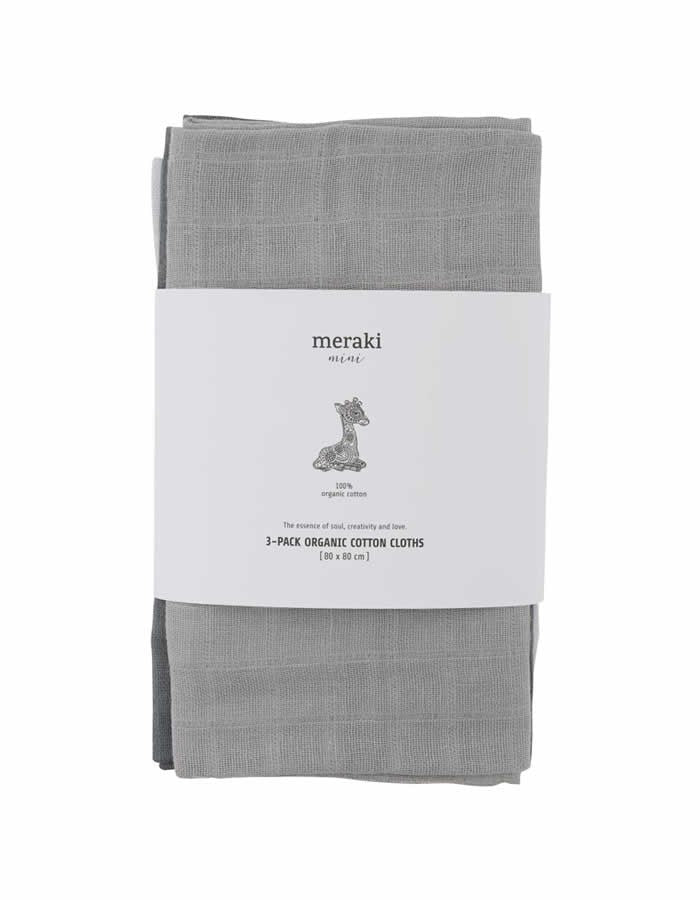 Set of 3 Organic Cotton Muslin Squares - Earth