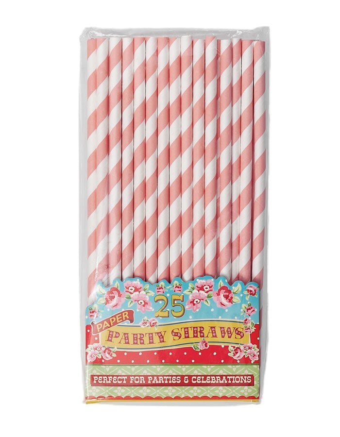 Paper Straws - Pink and White Stripe