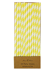 Paper Straws - Yellow and White Stripe