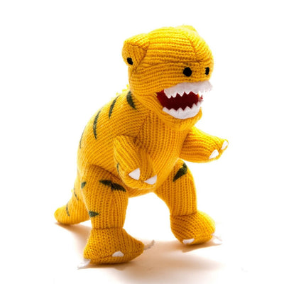 Knitted T-Rex Dinosaur Rattle Yellow