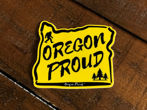 Yellow Oregon Proud Sticker