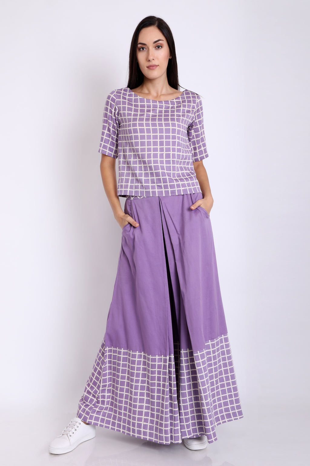 3X9T WOMENS COTTON SATIN CHECK PANEL WIDE LEG PANTS - URU THE STORE