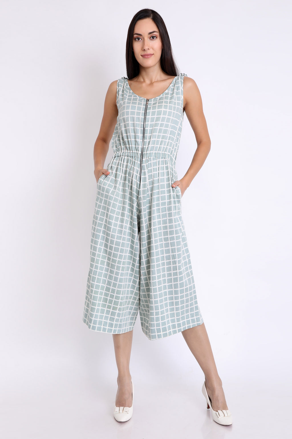 3X9T WOMENS COTTON SATIN CHECKS PASTEL PLAY SUIT - URU THE STORE