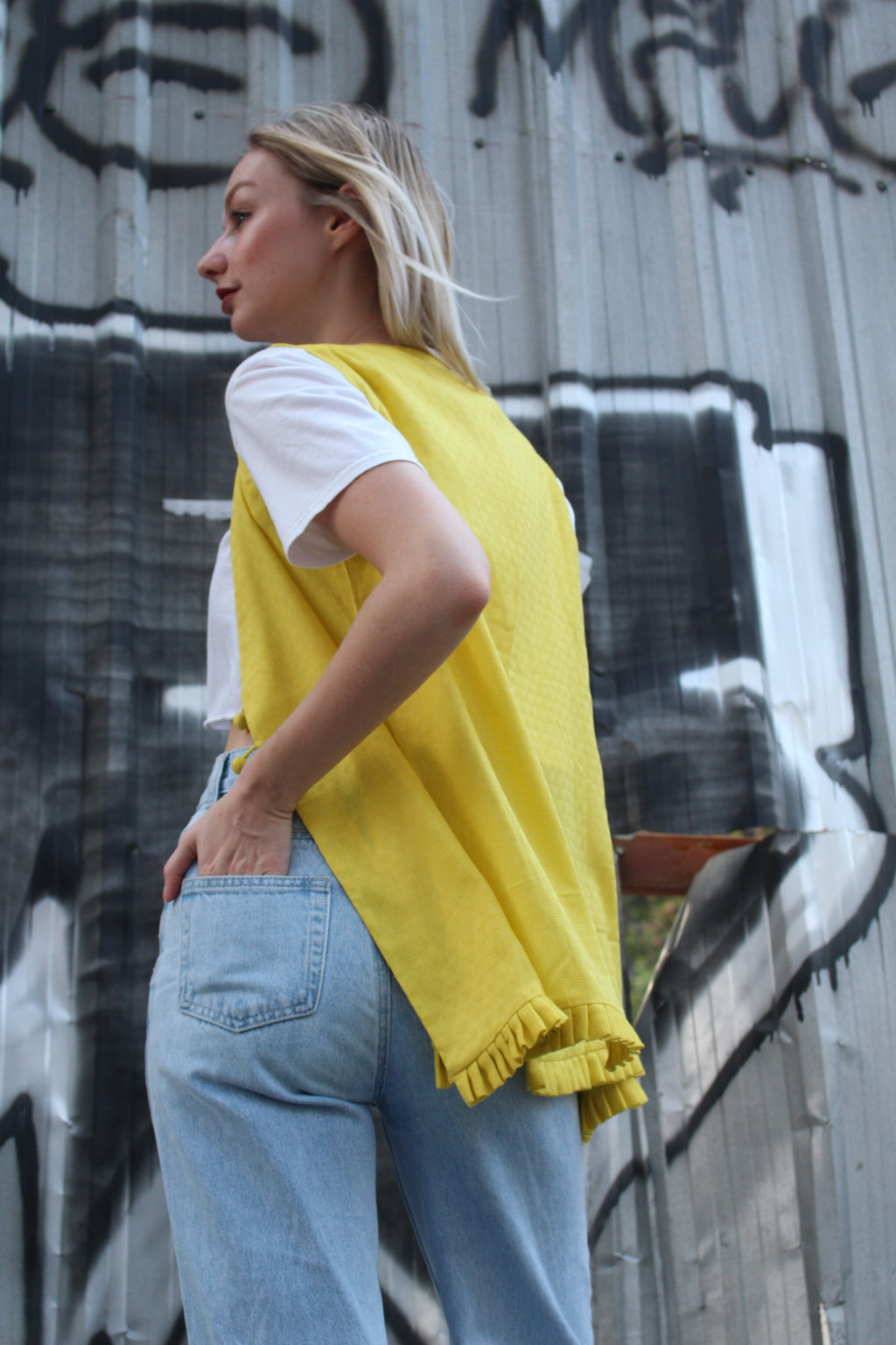 Yellow sleeveless koti - URU THE STORE